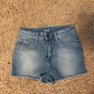 high waisted BDG light wash jean shorts